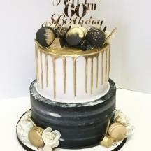Gray Watercolor & Gold Drip Cake