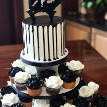 Black Drip Cake & Roses