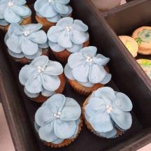 Pale Blue Petal Cupcakes
