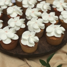 White Flower with Blush Pearls Cupcake