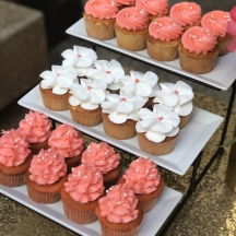 Coral and White Cupcakes