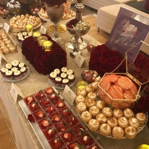 Burgundy And Gold Dessert Table 3