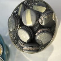Gray Macarons with Painting
