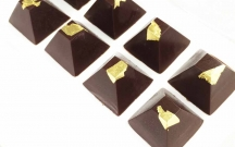 Dark Chocolate Pyramids with Gold Leaf