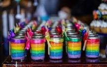 Rainbow Mason Jar Cake Favors