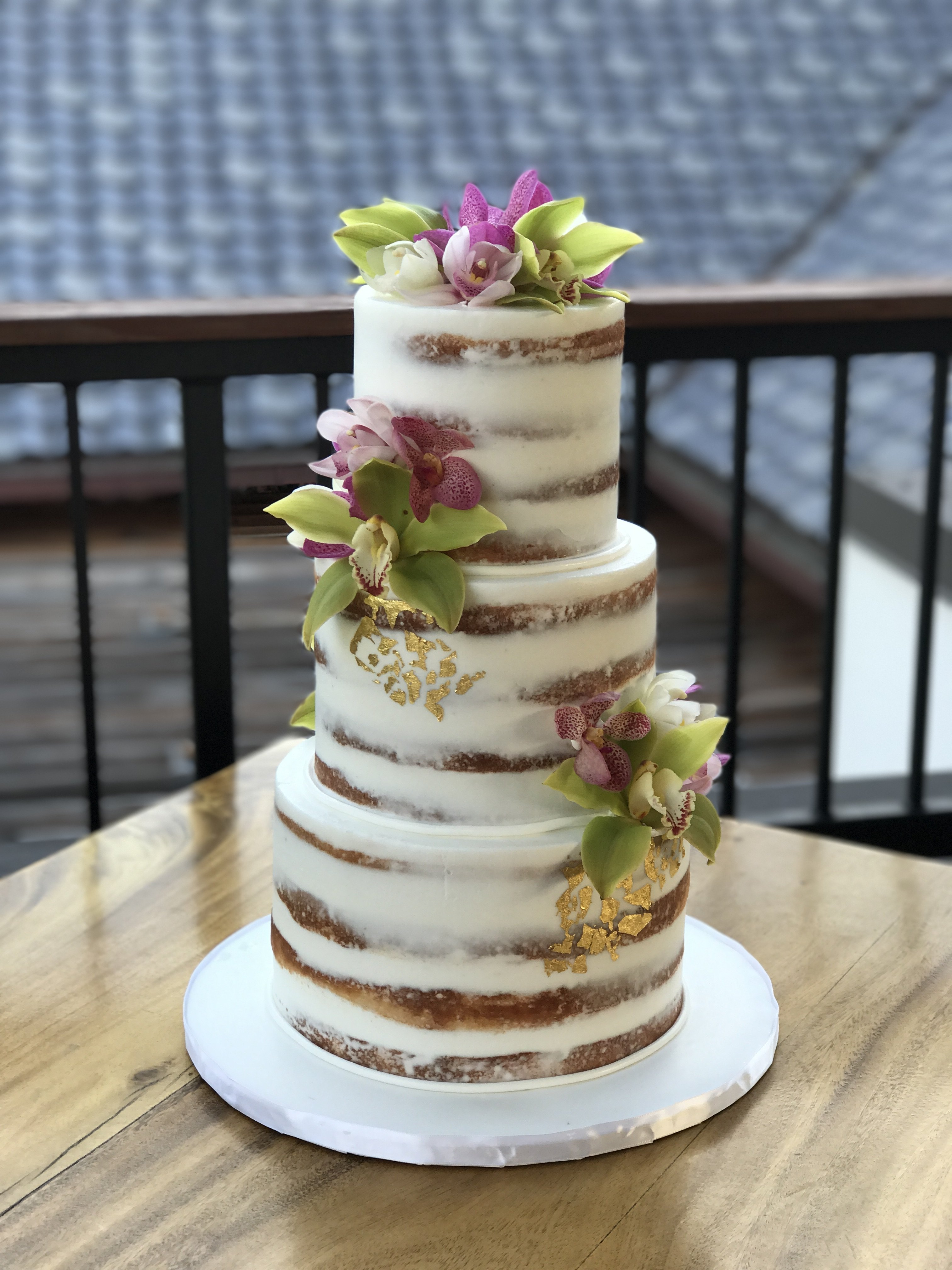 Sunflower Semi Naked Wedding Cake