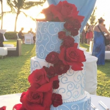 Blue Buttercream with Red Roses