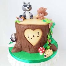 Cute Tree Stump Woodland Cake