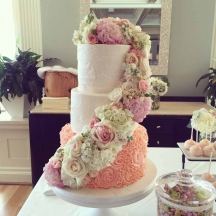 Floral Cascade with Coral Rosettes