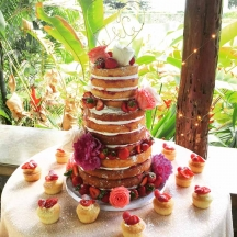 Naked Cake with Flowers and Berries
