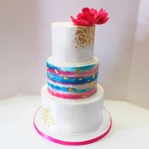 Pink and Blue Watercolor Buttercream