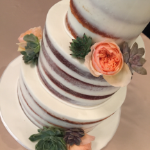 Semi Naked Cake Details with Fresh Succulents and Roses