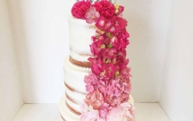 Ombre Pink Flowers on Naked Cake