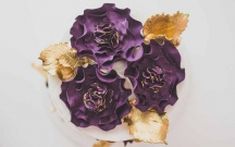 Purple Sugar Ruffle Flowers and Gold Leaves