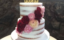 Semi Naked Cake with Mid-Flower Cascade