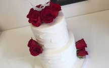 Stucco Cake with Red Roses