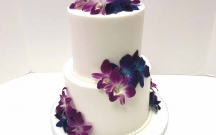 White Buttercream with Purple Orchids